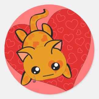 Ultra Cute Kawaii Valentine Kitty Classic Round Sticker