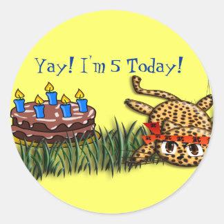 Ultra Cute Leopard Safari Birthday Invitations Classic Round Sticker