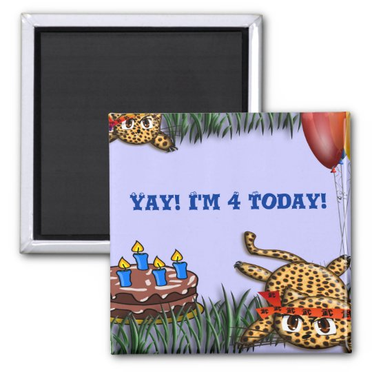 Ultra Cute Leopard Safari Birthday Invitations Magnet