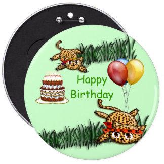 Ultra Cute Leopard Safari Birthday Invitations Wit Pinback Buttons