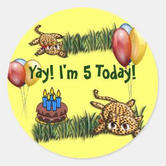 Ultra Cute Leopard Safari Birthday Stickers
