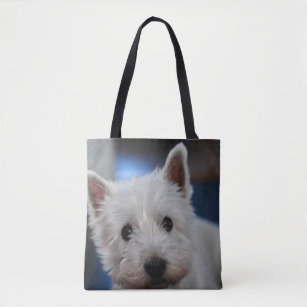 Personalised Handpainted Jute Bag Westie West Highland White Dog Lovers Handbag