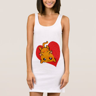 Ultra Cute Sad  Kawaii Anti Valentine Kitty Sleeveless Dress