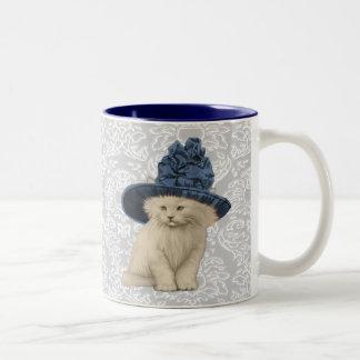 Ultra Cute Vintage Kitty Vintage Hat Mug Damask