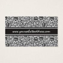 Ultra Elegant Black and White Fancy Floral Damask Business Card