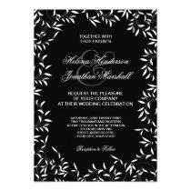 Ultra Elegant Black and White Willow Leaf Card