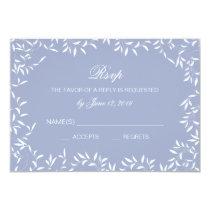 Ultra Elegant Blue and White Willow Leaf RSVP Card
