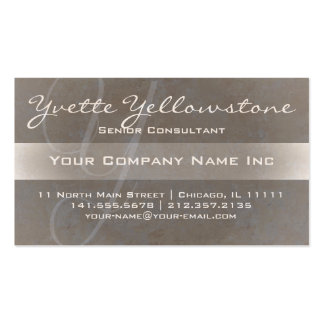 Ultra Elegant Initial Y Monogram Textured Taupe Double-Sided Standard Business Cards (Pack Of 100)