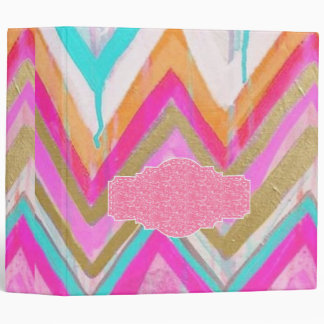 ultra,fun,pink,green,happy,colours,chevron,zigzag, 3 ring binder