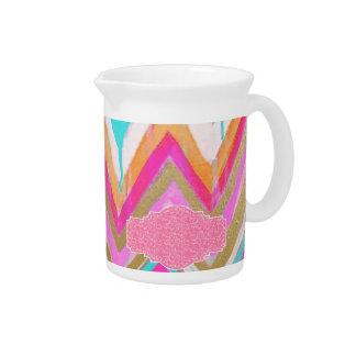 ultra,fun,pink,green,happy,colours,chevron,zigzag, beverage pitcher