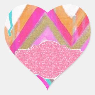 ultra,fun,pink,green,happy,colours,chevron,zigzag, heart sticker