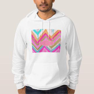 ultra,fun,pink,green,happy,colours,chevron,zigzag, hoodie