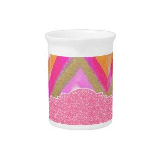 ultra,fun,pink,green,happy,colours,chevron,zigzag, pitcher