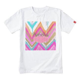 ultra,fun,pink,green,happy,colours,chevron,zigzag, zazzle HEART T-Shirt