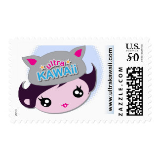 Ultra Kawaii - Girl with Cat Hat Postage Stamp