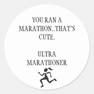 Ultra maratón pegatina redonda