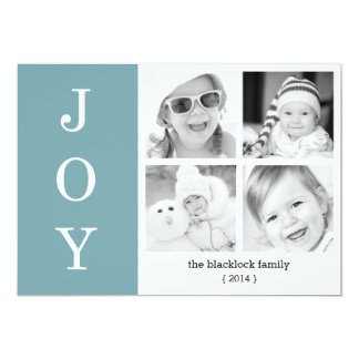 Ultra Modern Chic Blue JOY Holiday Flat Card Personalized Announcements