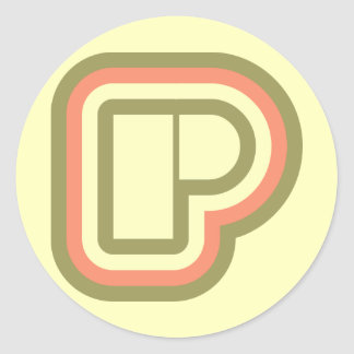 Ultra Modern deco art monogram P in 3 colors Classic Round Sticker