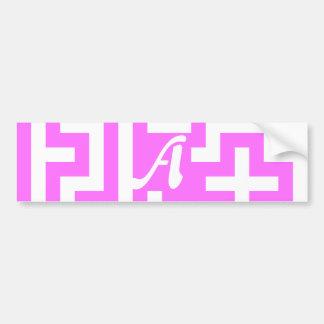 Ultra Pink and White Maze Monogram Bumper Sticker