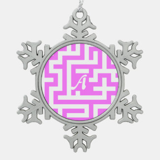 Ultra Pink and White Maze Monogram Snowflake Pewter Christmas Ornament
