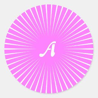 Ultra Pink and White Sunrays Monogram Round Sticker