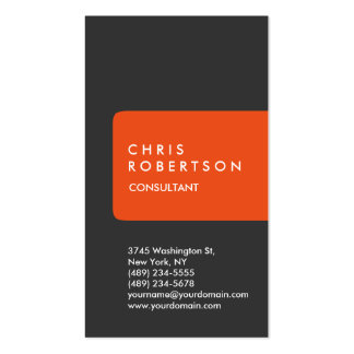 Ultra-Thick Chic Grey Orange Stripe Business Card