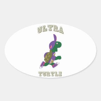 Ultra tortuga calcomanías ovales personalizadas