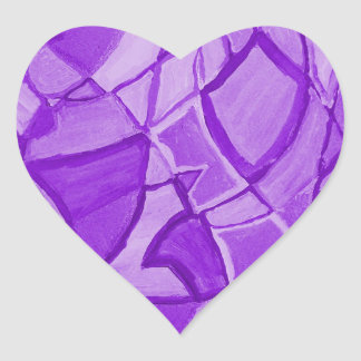 Ultra Violet Abstract Modern Art Heart Sticker