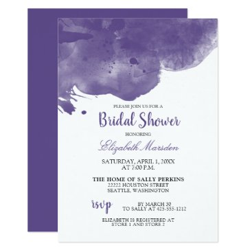 Wedding Themed Ultra Violet Abstract Watercolor Bridal Shower Card