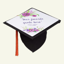 Ultra Violet and Plum Floral personalized Graduation Cap Topper