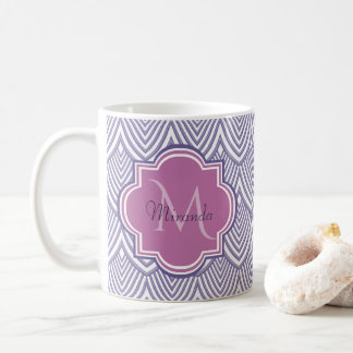 Ultra Violet Arched Scallops Orchid Monogram Name Coffee Mug