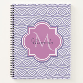 Ultra Violet Arched Scallops Orchid Monogram Name Notebook