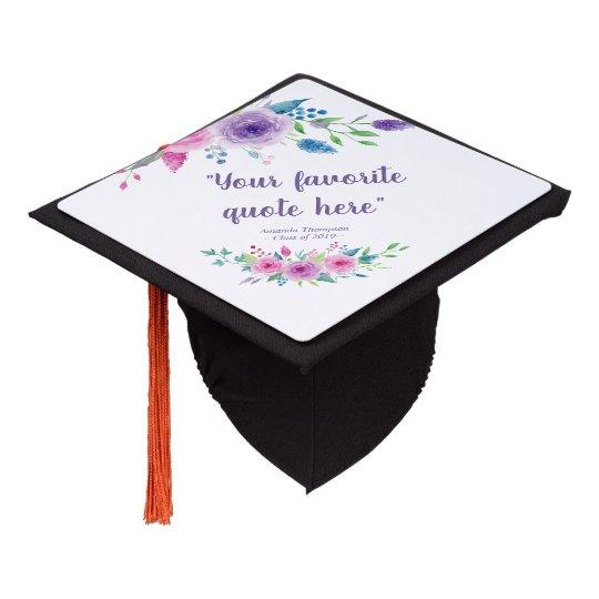 ultra violet color combo floral personalized graduation cap topper