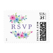 Ultra Violet Color Combo Watercolor Floral Wedding Postage