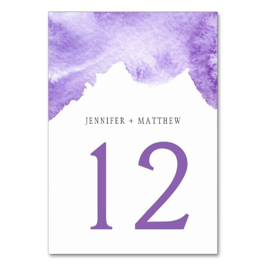 Ultra Violet Dark Purple Watercolor Table Cards