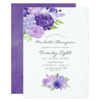 Ultra Violet Floral Any Age Birthday Party Invite