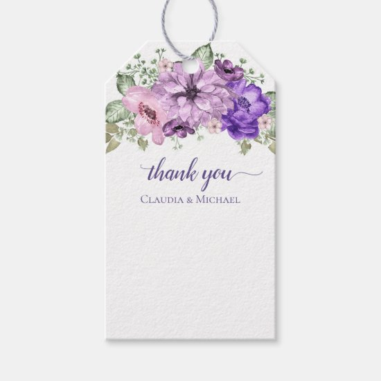 Ultra Violet Floral Bouquet Thank You Tags