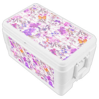 Ultra violet,floral,hand written text, water color chest cooler