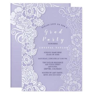 Ultra Violet Floral Lace Graduation Invitation