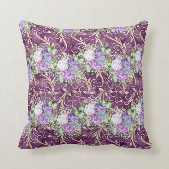 Ultra Violet Floral Watercolor Pattern Throw Pillow
