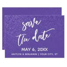 Ultra Violet Glitter Ombre Wedding Save The Date Card at Zazzle