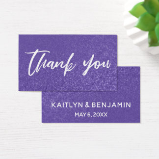 Ultra Violet Glitter Thank You Favor Tag Insert