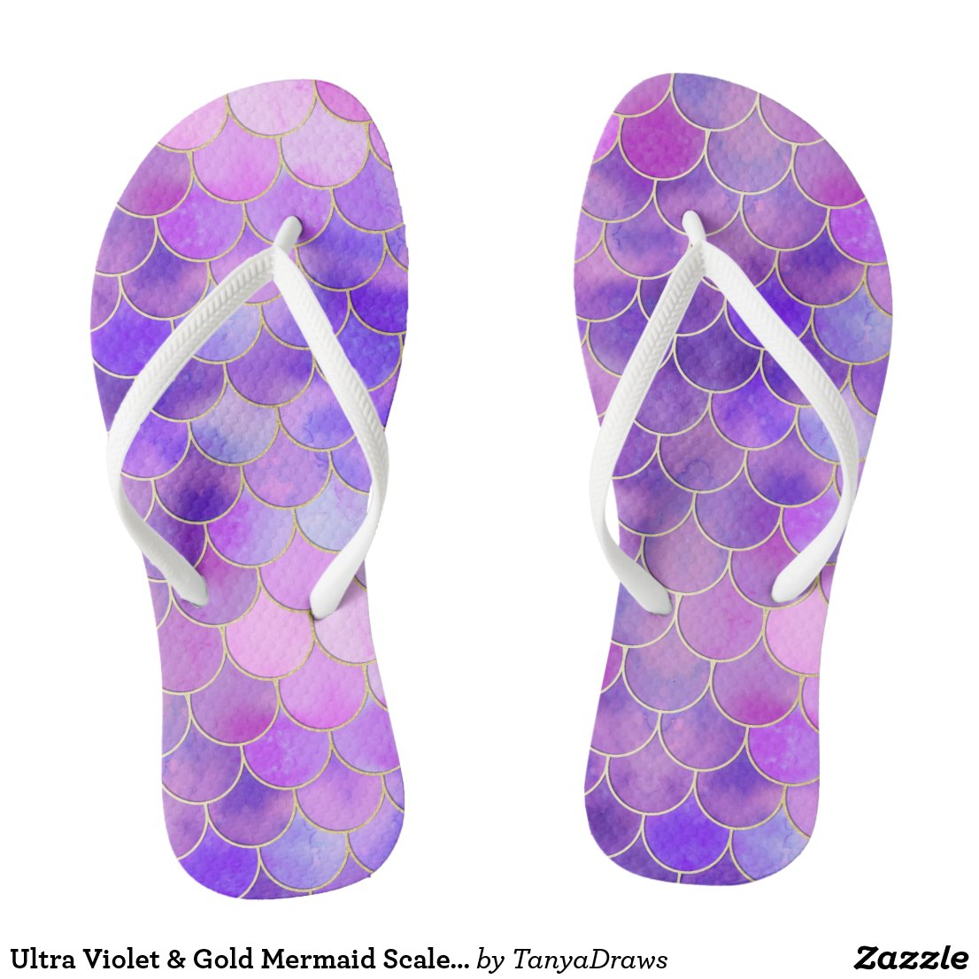 Ultra Violet & Gold Mermaid Scale Pattern Flip Flops