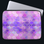 """Ultra Violet &amp; Gold Mermaid Scale Pattern Laptop Sleeve<br><div class=""""desc"""">A very pretty mermaid pattern filled with watercolour scales in shades of pink,  light blue and ultra violet purple. The scales are outlined in a pretty gold faux glitter texture.  This chic pattern is perfect for all the majestic mermaids out there!</div>"""