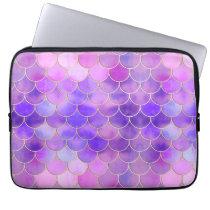 Ultra Violet & Gold Mermaid Scale Pattern Laptop Sleeve