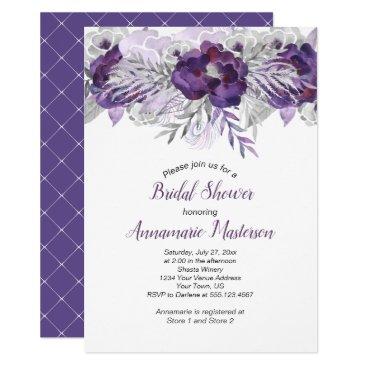 Wedding Themed Ultra Violet Lavender Gray Floral Bridal Shower Card