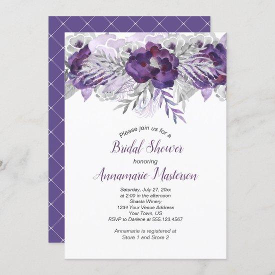 Ultra Violet Lavender Gray Floral Bridal Shower Invitation
