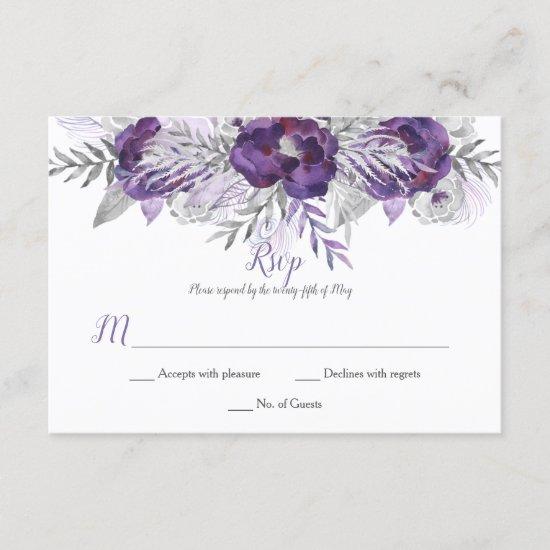 Ultra Violet Lavender Gray Watercolor Roses RSVP