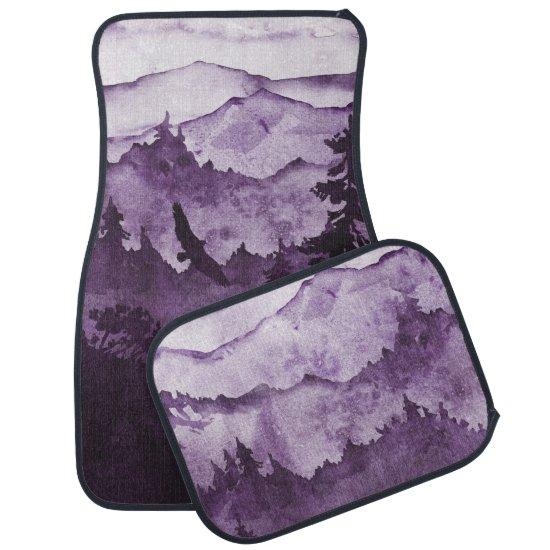 Ultra Violet  Mountains Mist Eagle Silhouette Car Floor Mat