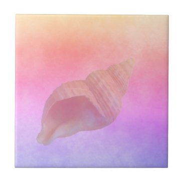 Beach Themed Ultra violet peach purple golden gradient conch tile